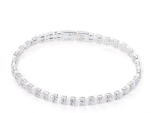 "Silver Diamante Crystal Bracelet Fits 6.5"" wrists"