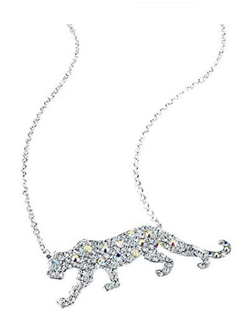 Silver Crystal Big Cat Panther Necklace