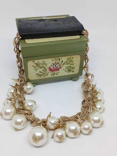 Chunky Ivory Bead Statement Necklace