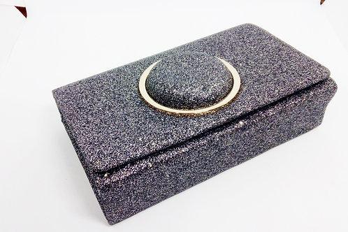 Grey Silver Glittery Evening Clutch Bag