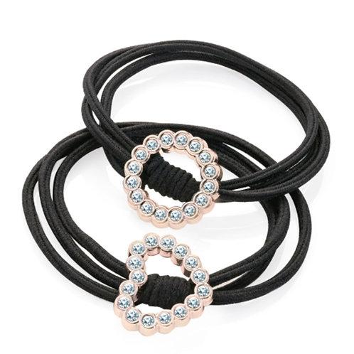 Set of Two Black Diamante Hair Elastics