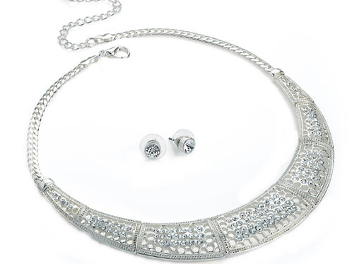 Silver Crystal Statement Necklace with Stud Earrings
