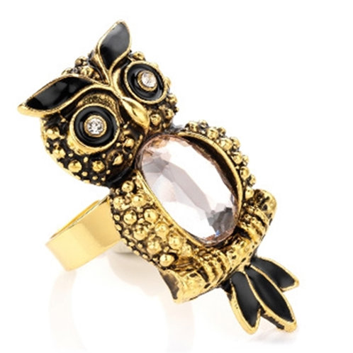 Gold Owl Ring with Jewels