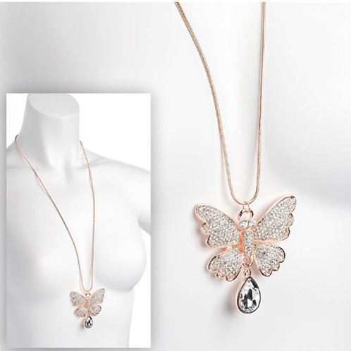 Ladies Rose Gold Colour Sparkly Crystal Butterfly Pendant Necklace