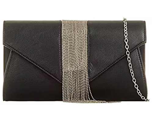 Large Black Faux Leather Chain Tassel Clutch Bag