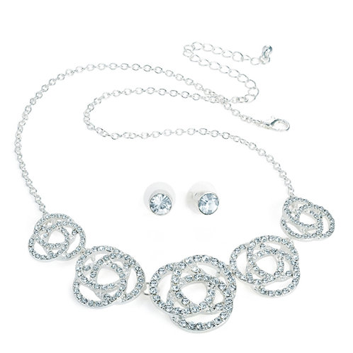 Silver colour crystal chain necklace and stud earring set