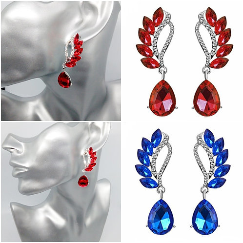 Glam Red Blue Winged Crystal Dangly Earrings