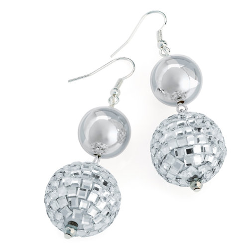 Silver Glass Ball Bauble Dangly Earrings