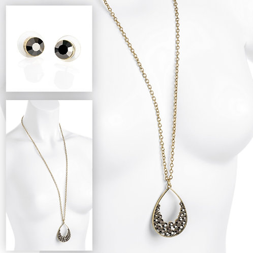 Long Burnished Gold & Hematite Jumper Pendant Necklace Set