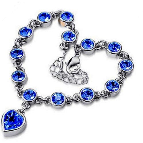 Silver Charm Bracelet Blue Heart Jewels