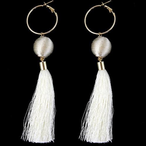 Womens White Ivory Long Tassel Hoop Earrings