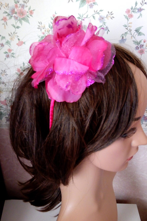 Fuchsia Pink Glittery Flower Hair Band