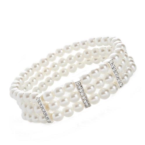Three row pearl bead elasticated bracelet