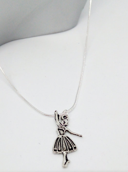 Small Silver Ballerina Dancer Pendant Necklace