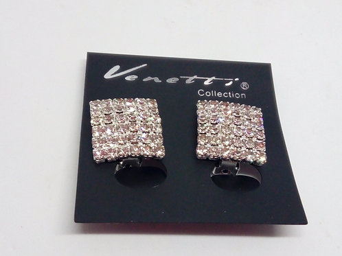 Womens Diamante Square Clip on Earrings