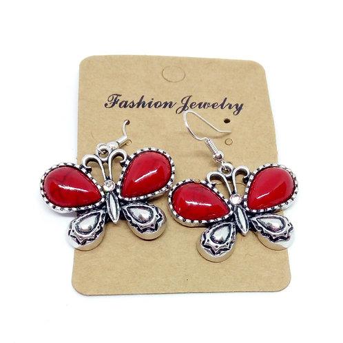 Womens Silver Dangly Earrings Red Butterflies