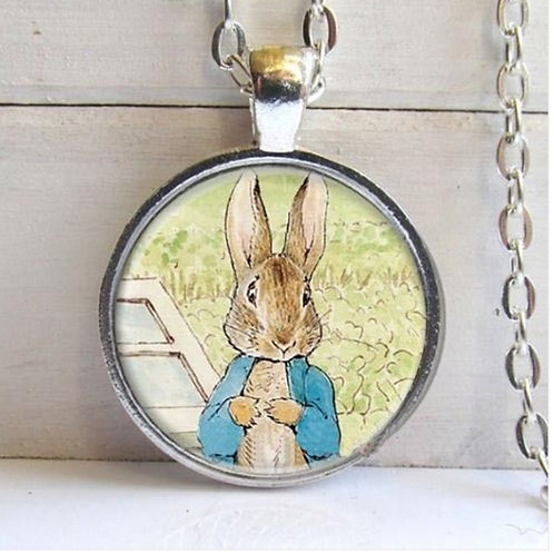 Rabbit Silver Look Pendant Necklace
