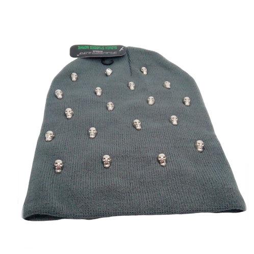 Grey Unisex Knitted Skull Beanie Hat