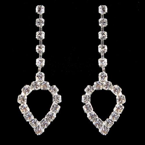 Silver Crystal Heart Clip on Dangle Earrings