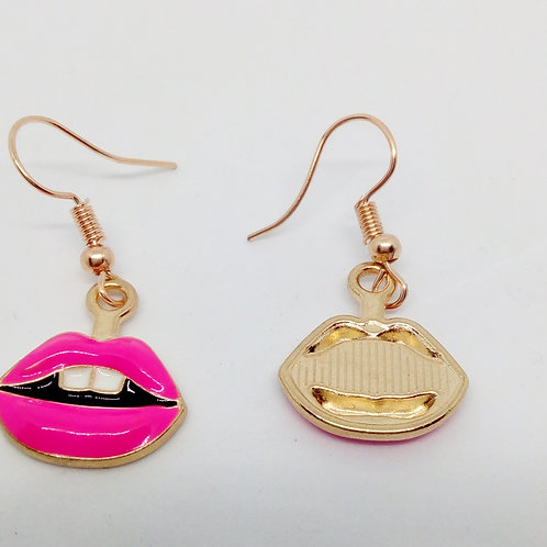 Pink Lips Dangly Earrings Hand Made