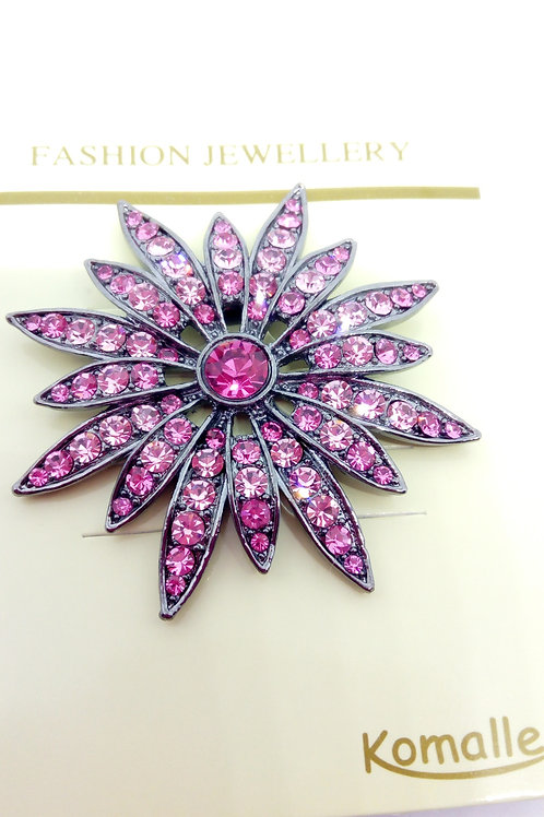 Large Pink Crystal Fower Brooch