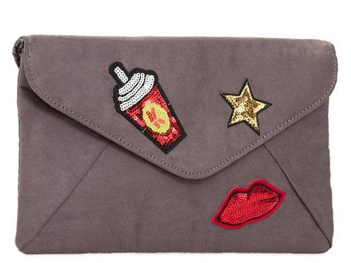 Grey Velvet Effect Retro Lips Star Clutch Bag
