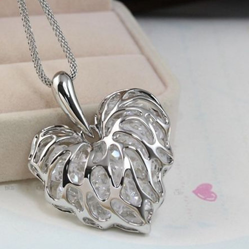 Ladies Silver Colour Cut Out Heart Pendant Necklace