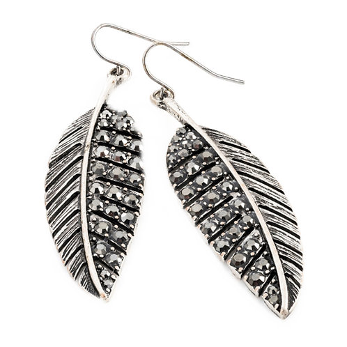 Burnished Silver Hematite Colour Leaf Dangly Earrings