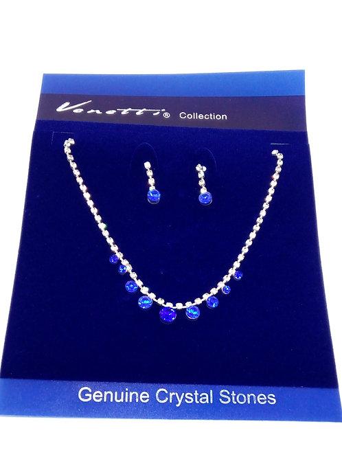 Womens Silver Diamante Blue Jewel Necklace Set