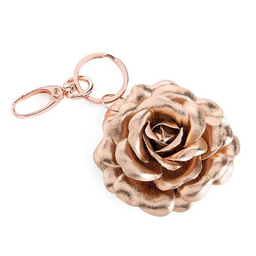 Rose gold colour metallic look flower design keyring