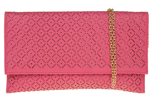 Pink Laser Cut Out Clutch Bag