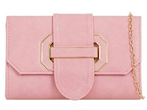 Light Pink Faux Leather Buckled Clutch bag