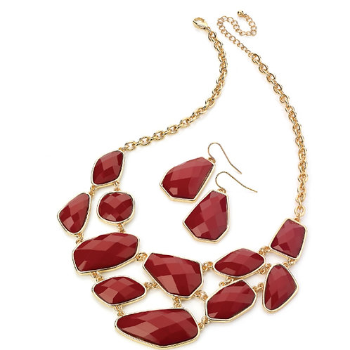 Red Beaded Necklace Earring Set
