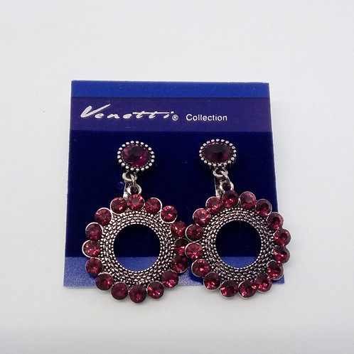 Womens Small Purple Pink Clip on Jewelled Earrings