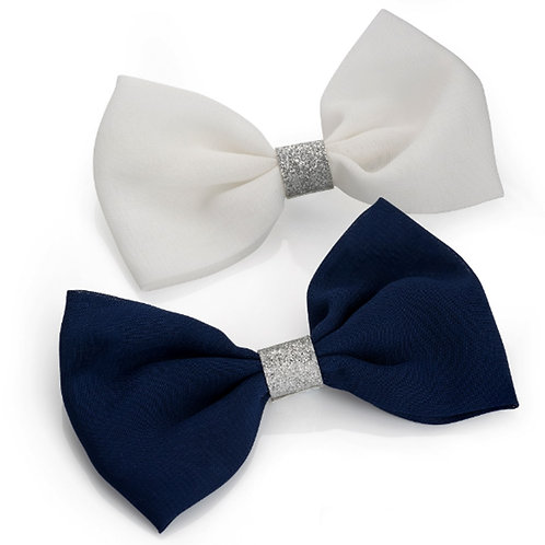 Two Pack Navy Blue White Hair Bows