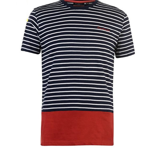 Mens Navy Striped Colour Block Tshirt Pierre Cardin