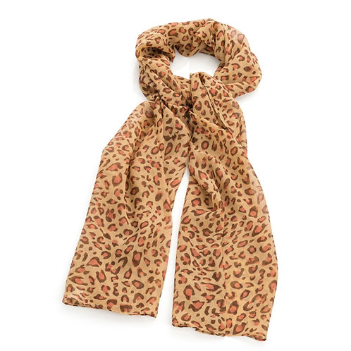 Brown Pink Tone Animal Print Scarf