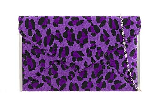 Womens Purple Animal Print Slim Clutch Bag