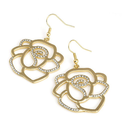 Gold Colour Cut Out Flower Dangle earrings