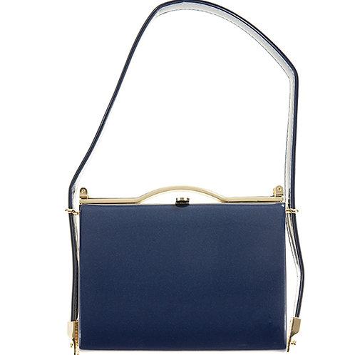 Dark Blue Patent Glossy Vintage Style Handbag