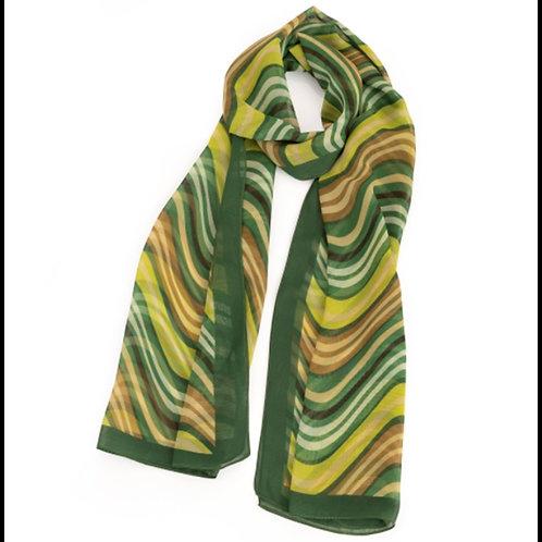 Green Tones Wavy Striped Pattern Fashion Scarf