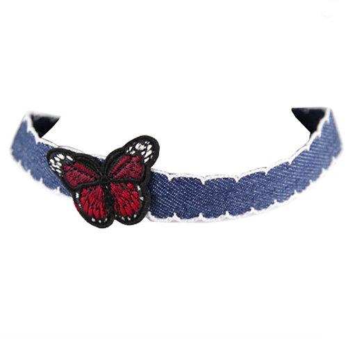 Denim Blue Butterfly Festival Choker Necklace