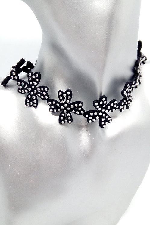 Black Flower Choker Crystal Necklace