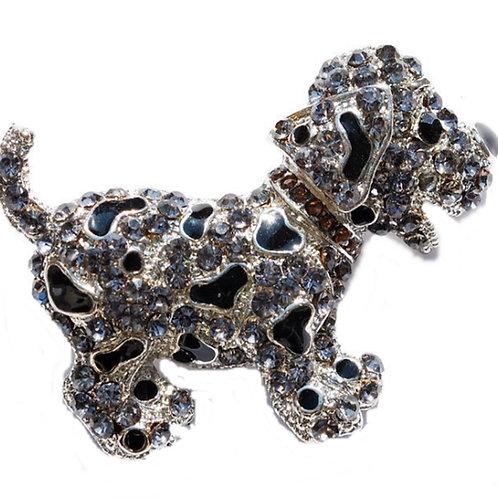 Silver Dog Brooch Black Beads
