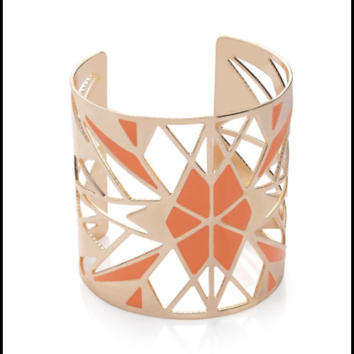 Womens Rose Gold Peach Colour Wide Cuff bangle Bracelet