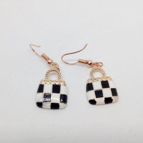 Small Hand Made Checked Handbag Earrings