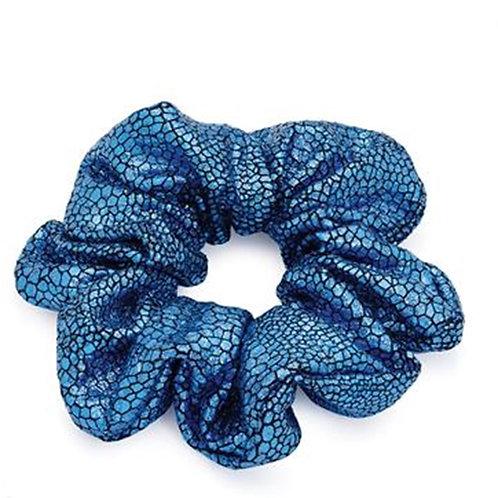 Blue Metallic stretchy hair scrunchie