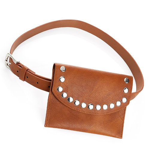 Brown Marble Effect Stud Belt Waist Bag