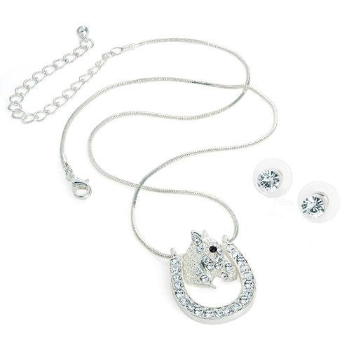 Silver Look Horse Shoe Necklace Earring Set