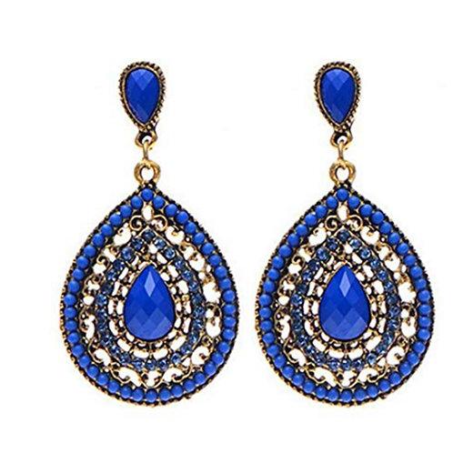 Royal Blue Crystal Bead Glam Earrings